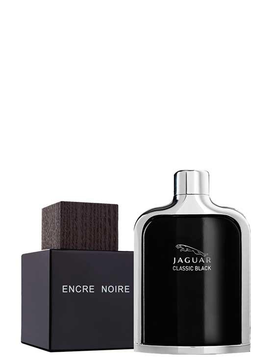 Bundle for Men: Encre Noire for Men, edT 100ml by Lalique + Jaguar Classic Black for Men, edT 100ml by Jaguar