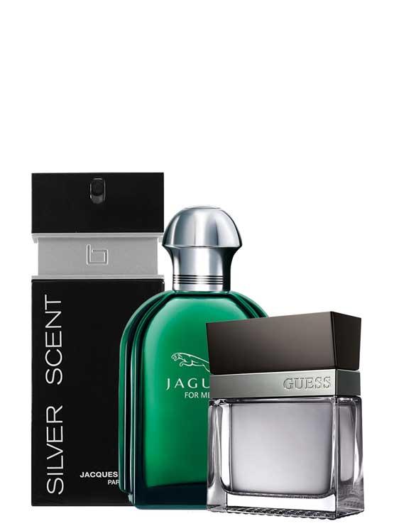 <p>Bundle for Men: </p><ul><li>Jaguar Green for Men, edT 100ml by Jaguar +</li><li> Seductive for Men, edT 100ml by Guess +</li><li> Silver Scent for Men, edT 100ml by Jacques Bogart</li></ul>