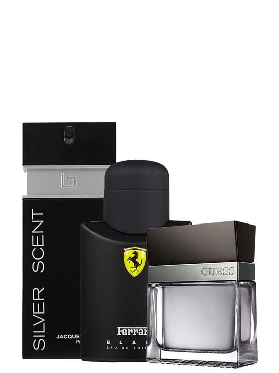 <p>Bundle for Men: </p><ul><li>Scuderia Ferrari Black for Men, edT 125ml by Ferrari +</li><li> Seductive for Men, edT 100ml by Guess +</li><li> Silver Scent for Men, edT 100ml by Jacques Bogart</li></ul>