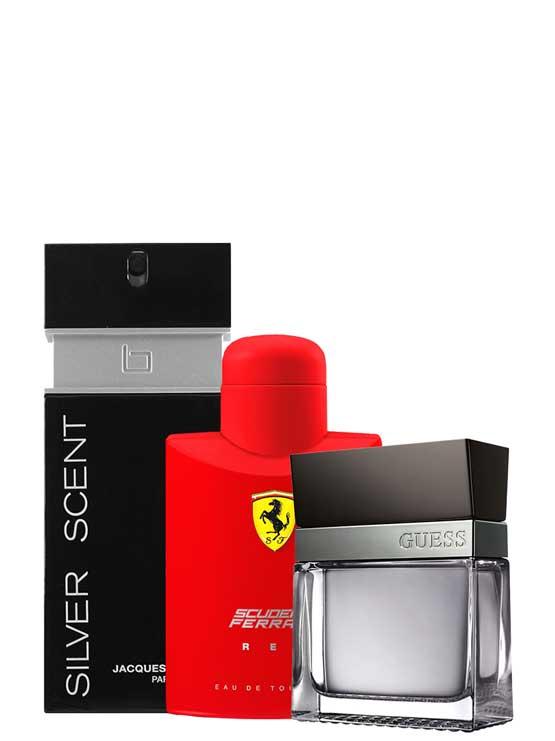 <p>Bundle for Men: </p><ul><li>Scuderia Ferrari Red for Men, edT 125ml by Ferrari +</li><li> Seductive for Men, edT 100ml by Guess +</li><li> Silver Scent for Men, edT 100ml by Jacques Bogart</li></ul>