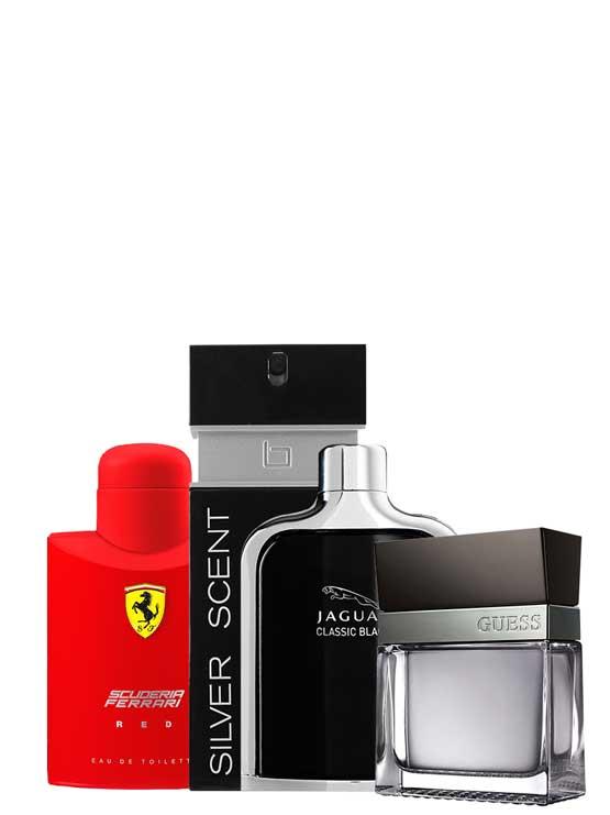 Bundle for Men: Scuderia Ferrari Red for Men, edT 125ml by Ferrari + Seductive for Men, edT 100ml by Guess + Silver Scent for Men, edT 100ml by Jacques Bogart + Jaguar Classic Black for Men, edT 100ml by Jaguar