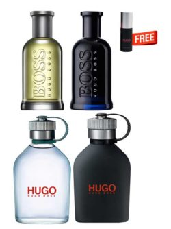 Mega Offer for Men: Hugo MAN Green edT 125ml + Hugo Just Different (Black) edT 125ml + Boss Bottled (no. 6) edT 100ml + Boss Bottled Night edT 100ml + Just Different Miniature edT 8ml Free!