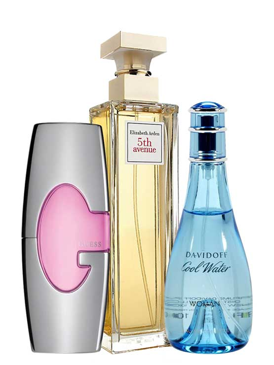 Bundle for Women: Cool Water for Women, edT 100ml by Davidoff + Guess Pink for Women, edP 75ml by Guess + 5th Avenue for Women, edP 125ml by Elizabeth Arden