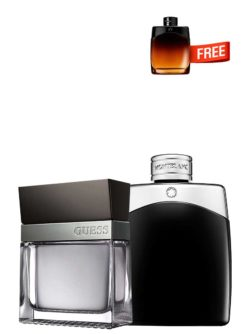 Bundle for Men: Seductive for Men, edT 100ml by Guess + Legend for Men, edT 100ml by Mont Blanc + Legend Night Miniature for Men, edP 4.5ml by Mont Blanc Free!