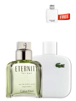 <p>Bundle for Men: </p><ul><li>Eternity for Men, edT 100ml by Calvin Klein +</li><li> Eau de Lacoste Blanc Pure (White) for Men, edT 100ml by Lacoste +</li><li> Legend Spirit Miniature for Men, edT 4.5ml by Mont Blanc Free!</li></ul>