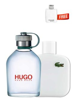 <p>Bundle for Men: </p><ul><li>Hugo MAN Green for Men, edT 125ml by Hugo Boss +</li><li> Eau de Lacoste Blanc Pure (White) for Men, edT 100ml by Lacoste +</li><li> Legend Spirit Miniature for Men, edT 4.5ml by Mont Blanc Free!</li></ul>