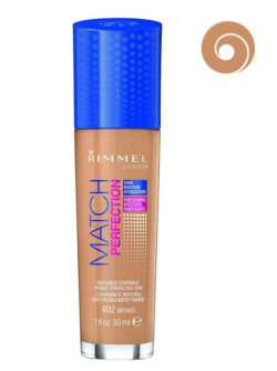 402 Bronze - Match Perfection Foundation 24HR Moisture Pore Blurring Effect SPF 20 Invisible Coverage Visibly Perfected Skin (Glass Bottle) by Rimmel