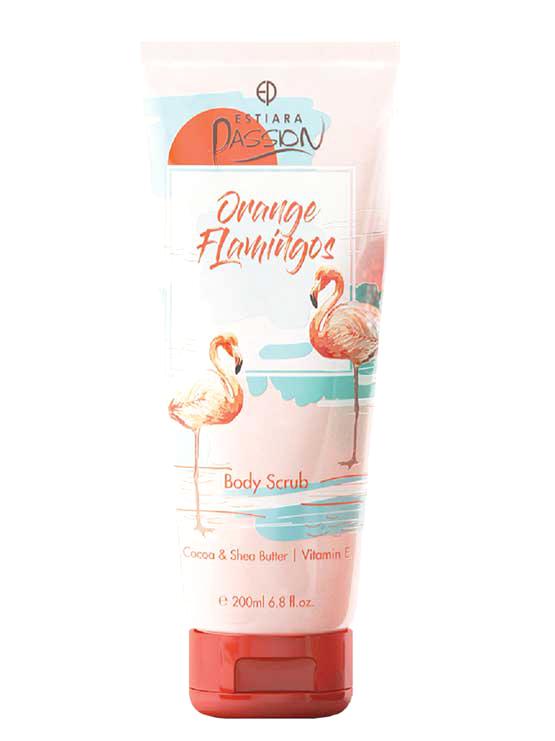 Orange Flamingos Body Scrub Cocoa & Shea Butter with Vitamin E, 200ml by Estiara Passion