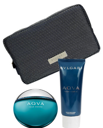 Aqva pour Homme Gift Set for Men (edT 100ml + After Shave Balm 100ml + Pouch) by Bvlgari